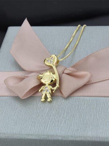 Gold plated white zirconium Brass Rhinestone Ball Cute Boy Pendant  Necklace