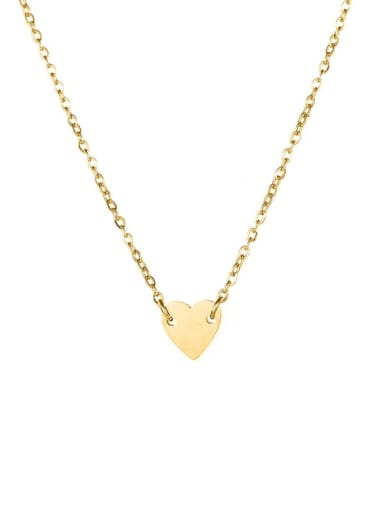 Gold Color Stainless steel Love heart 7mm Necklace
