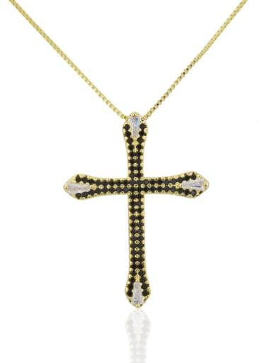 Golden black Brass Cubic Zirconia Cross Pendant Necklace
