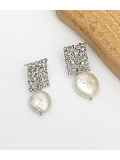White K Copper Freshwater Pearl Hollow Geometric Ethnic Drop Earring