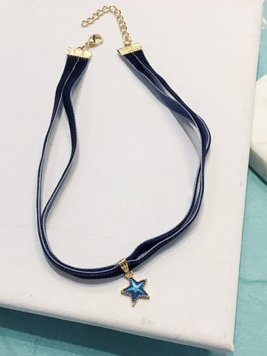 Blue Star Double Zinc Alloy Blue Ball Classic Choker Necklace