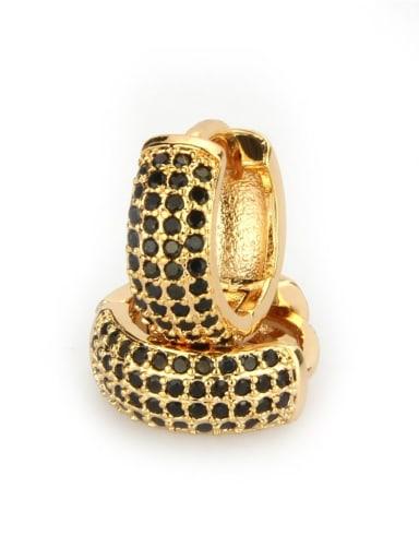 Gold Plated Black zirconium Brass Cubic Zirconia Round Minimalist Hoop Earring