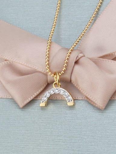 Gold plated white zirconium Brass Cubic Zirconia Multi Color Moon Minimalist Necklace