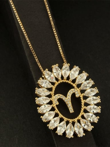 Aries Brass Cubic Zirconia Constellation Dainty Necklace