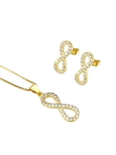 Brass Minimalist Letter  Cubic Zirconia Earring and Necklace Set
