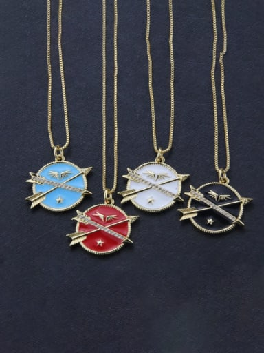 Brass Enamel Round Dainty Initials Necklace