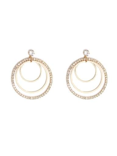 Copper Cubic Zirconia Geometric Luxury Drop Earring