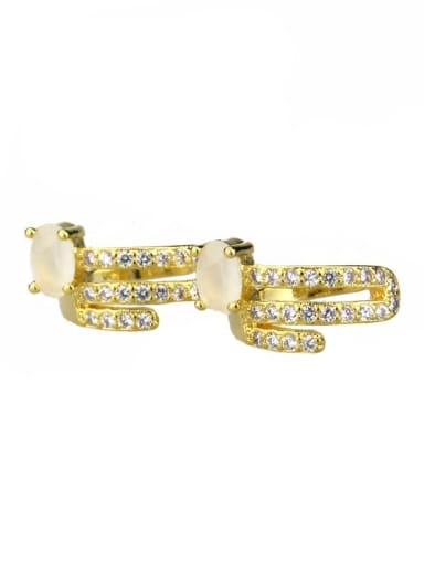 Gold Plated protein Brass Cubic Zirconia Round Dainty Huggie Earring