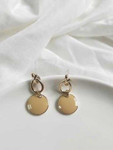 14K gold light yellow Copper Enamel Round Minimalist Drop Earring