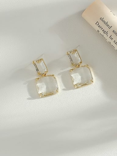 14K  gold Copper Cubic Zirconia Geometric Minimalist Drop Earring