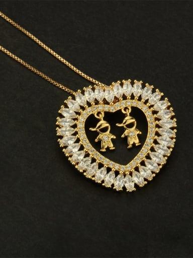 Male male white Brass Cubic Zirconia Heart Dainty  Pendant Necklace