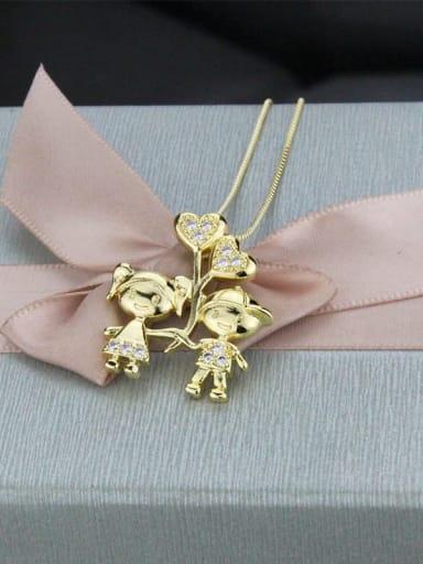 Gold plated white zirconium Brass Cubic Zirconia Cute boy girl  Pendant Necklace