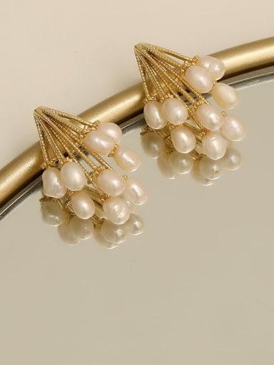Copper Imitation Pearl Geometric Vintage Stud Earring