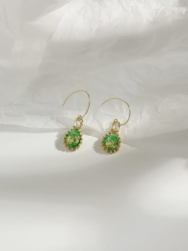 14K gold green Copper Opal Water Drop Dainty Hook Earring