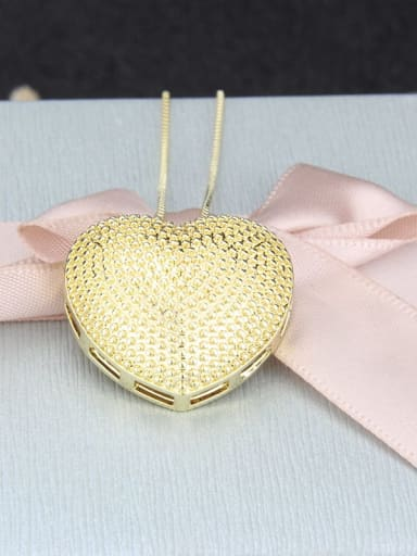 gold-plated Brass  Smooth Heart Minimalist  Pendant  Necklace