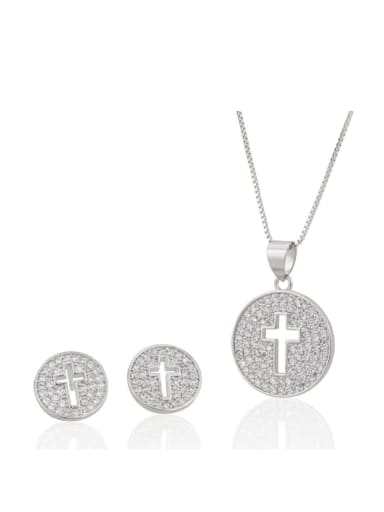 Brass Cross  Cubic Zirconia Earring and Necklace Set