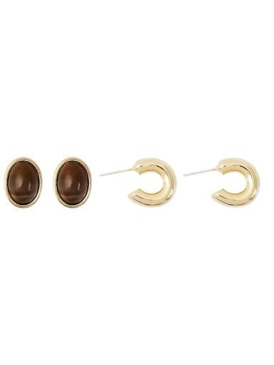 Copper Imitation Pearl Heart Minimalist Stud Earring