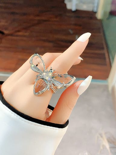 Silver Alloy+ Crystal White Bee Vintage Ring