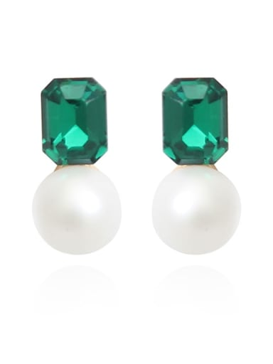 Copper Imitation Pearl Square Glass stone Minimalist Stud Earring