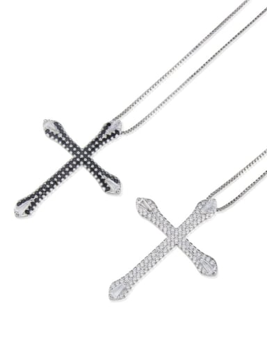 Brass Cubic Zirconia Cross Pendant Necklace