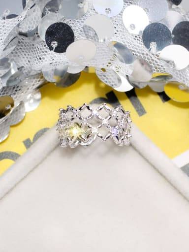 silvery Alloy+ Rhinestone White Geometric Artisan Band Ring/Free Size Ring