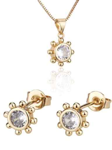 Brass Cubic Zirconia Minimalist Flower  Earring and Necklace Set