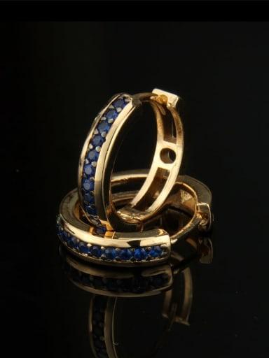 Gold Plated Blue Zircon Brass Cubic Zirconia Round Dainty Hoop Earring