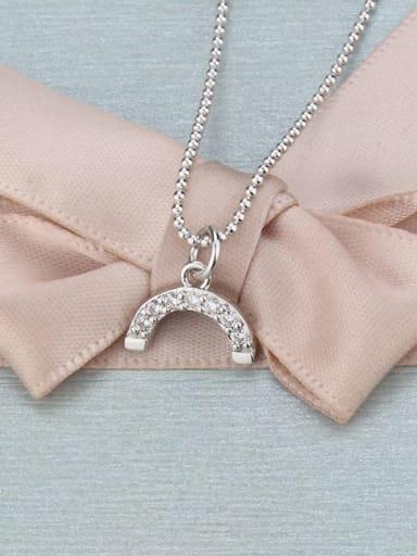 White zirconium plating Brass Cubic Zirconia Multi Color Moon Minimalist Necklace