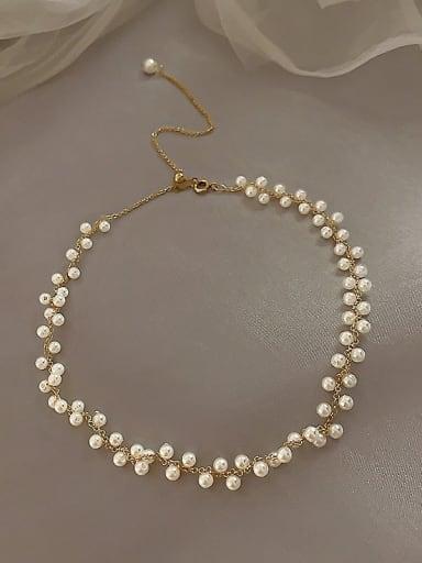 Zinc Alloy Imitation Pearl White Locket Classic Choker Necklace