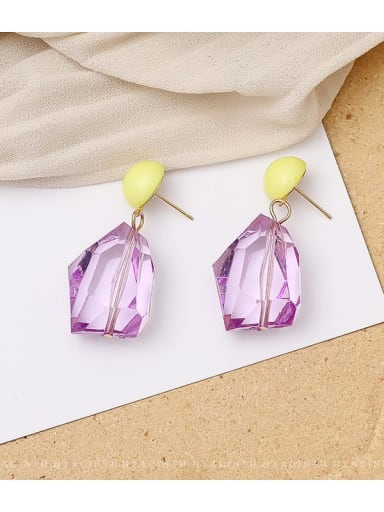 violet Copper Crystal Geometric Dainty Drop Earring