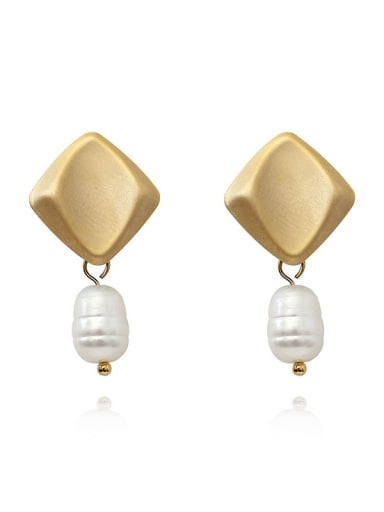 Dumb gold Copper Freshwater Pearl Geometric Minimalist Drop Earring