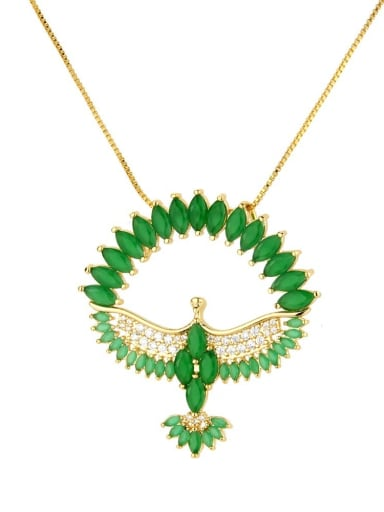 green Brass Cubic Zirconia Religious Bird Dainty Necklace