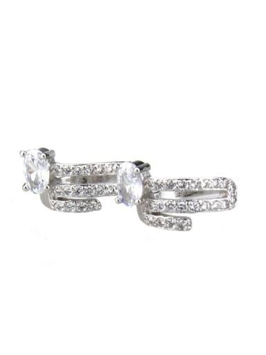 White zirconium plating Brass Cubic Zirconia Round Dainty Huggie Earring