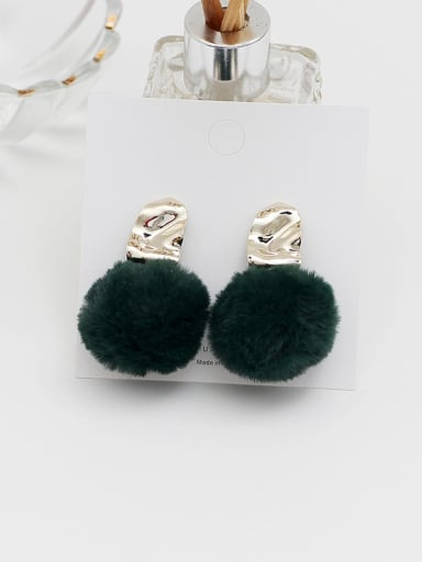 green Copper Plush  Ball Vintage Drop Earring