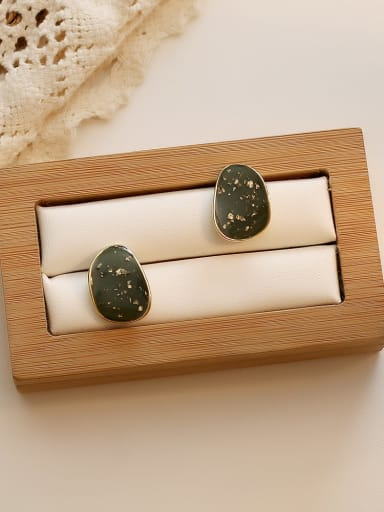blackish green Copper Enamel Water Drop Minimalist Stud Earring