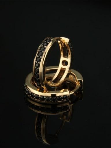 Gold Plated Black zircon Brass Cubic Zirconia Round Dainty Hoop Earring