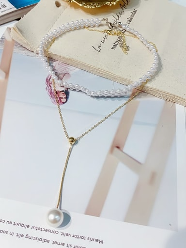 Zinc Alloy Imitation Pearl White Classic Multi Strand Necklace