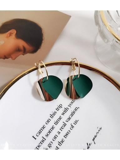 green Copper Enamel Geometric Minimalist Huggie Earring
