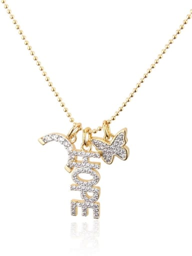Gold plated white zirconium Brass Rhinestone Letter Dainty Butterfly pendant Necklace