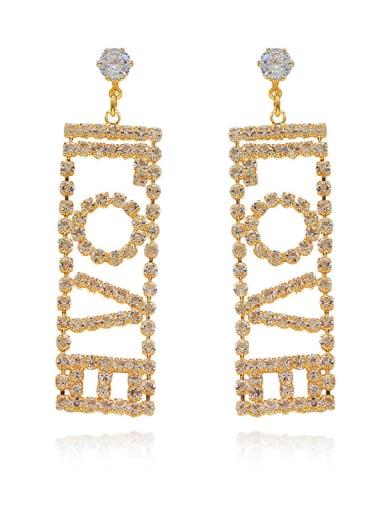 18K gold Copper Cubic Zirconia Letter Minimalist Chandelier Earring