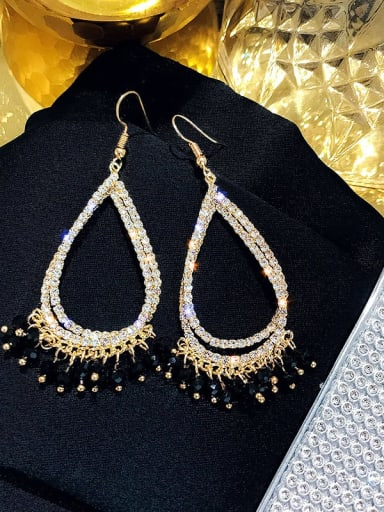 ear hook. Crystal Black Alloy Rhinestone Water Drop Luxury Hook Earring