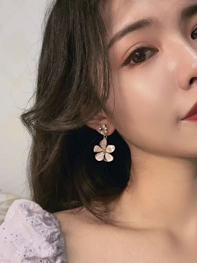Mixed Metal Cubic Zirconia Beige Flower Trend Drop Earring