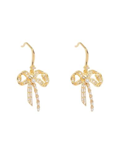 Brass Cubic Zirconia Bowknot Dainty Drop Earring