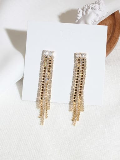 14K gold Copper Cubic Zirconia Tassel Ethnic Cluster Earring