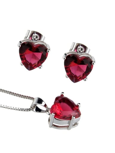 Platinum Plated Red Brass Heart  Cubic Zirconia Earring and Necklace Set