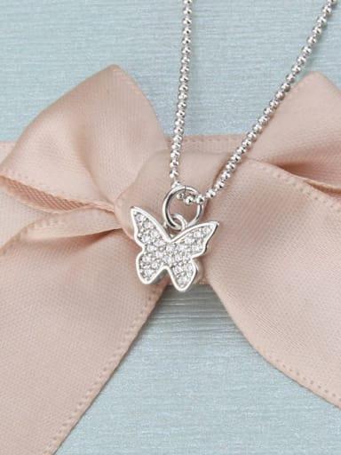 White zirconium plating Brass Cubic Zirconia Butterfly Dainty Necklace