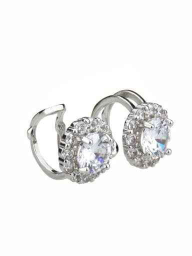 Platinum plating Brass  Round Cubic Zirconia  Dainty Clip Earring