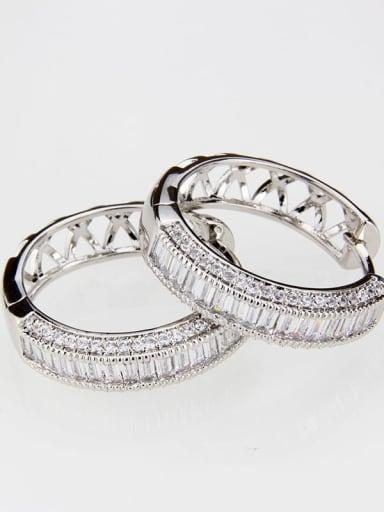 Platinum plating Brass Cubic Zirconia Round Classic Hoop Earring