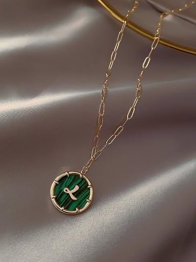 Zinc Alloy Green Letter Trend Initials Necklace