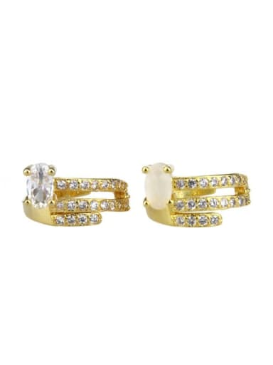 Brass Cubic Zirconia Round Dainty Huggie Earring
